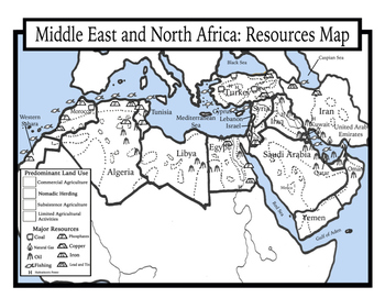Blank Geography: Middle East and North Africa Maps: Students Color