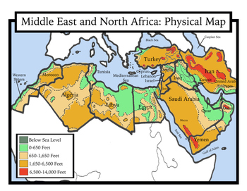 Middle East And North Africa Physical Map Blank Geography: Middle East and North Africa Maps: Students Color