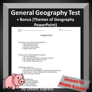 Geography Multiple Choice Test + (Bonus: PowerPoint and Notes)