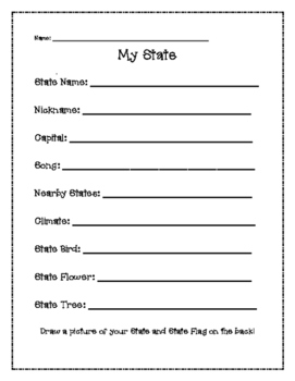 Geography My State Activity