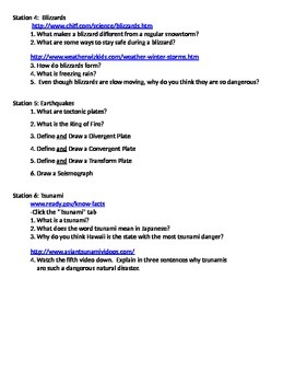 Geography - Natural Disasters/Severe Weather (Stations/WebQuest)