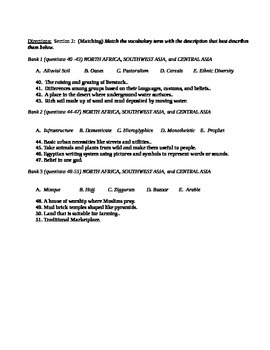 Middle East Unit Test  / Exam / Assessment / (Geography) NA, SW Asia, Cent Asia