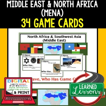 Geography Middle East & North Africa (MENA) 34 I Have Who Has Game Cards