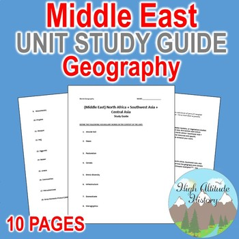 Middle East Unit Study Guide (Geography) N Africa, SW Asia, and Cent Asia