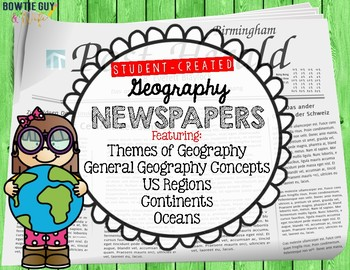 Geography, Oceans, Continents, US Regions Newspapers and Posters