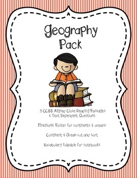 Geography Pack: 3 passages, questions, foldable, vocab, sort & more!