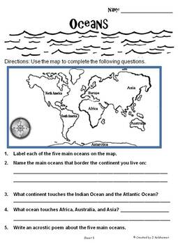 Geography Packet: Continents, Oceans, & Hemispheres