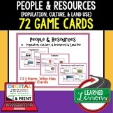 People & Resources Game Cards, I Have Who Has, Geography Test Prep