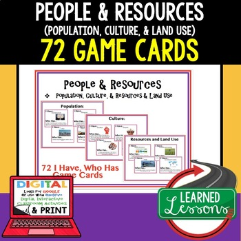 Geography People & Resources 72 I Have Who Has Game Cards