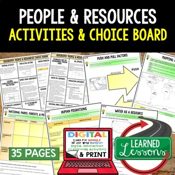 Geography People & Resources (Population, Culture, Land Use) Choice Boards