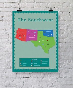Geography Posters of USA Regions in a Printable PDF Format