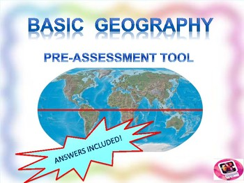 Basic Geography knowledge pre-assessment in non-traditional, visual format!