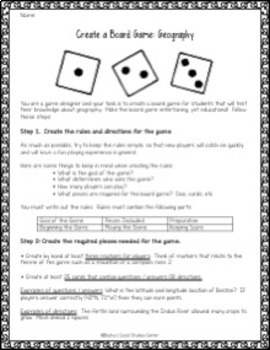 Geography Project: Create a Board Game