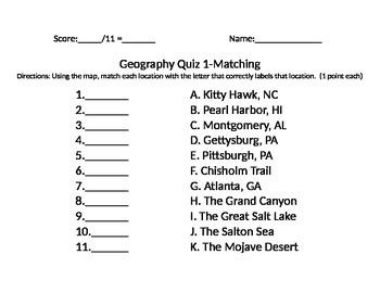 Geography Quiz - Georgia Standards - 5th Grade