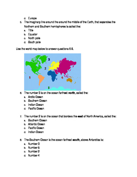Geography Quiz Oceans and Continents