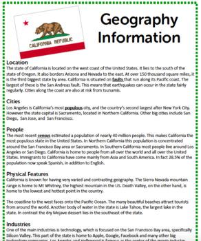 Geography Reading Activity - California