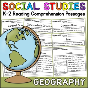 Geography Reading Comprehension Passages (K-2) - Social Studies