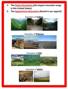 Geography:  Regions and Landforms Powerpoint and Notes - 4th Social Studies