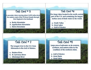 Geography:  Regions and Landforms TASK CARDS - 4th Social Studies CC