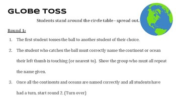 """Geography Review """"Globe Toss"""""""