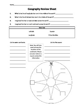 Geography Review Sheet