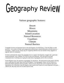Geography Review--global history