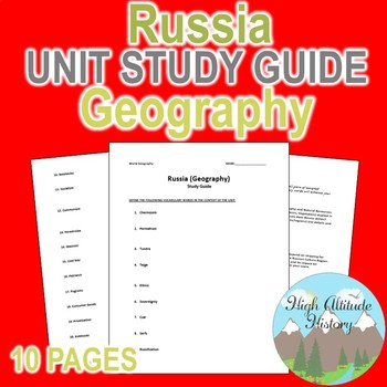 Russia Unit Study Guide (Geography)