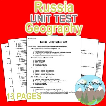 Russia Unit Test / Exam / Assessment (Geography)