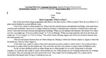 Reading in Social Studies Bell work: Geography- SS.6.G.6.1