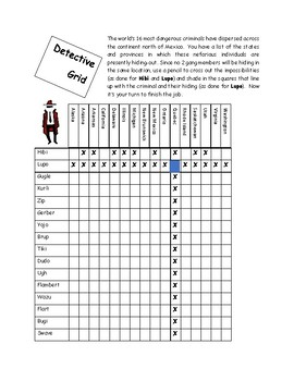 Geography Secret Agent North of Mexico Logic Puzzle for Social Studies and ESL