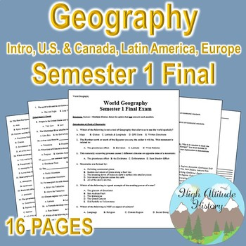 Geography Semester Final Exam (Intro, U.S. & Canada, Latin America, Europe)