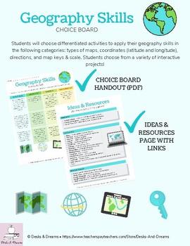 Geography Skills Choice Board Menu Project