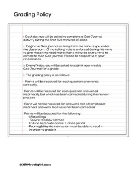 Geography Skills Daily Warm-Up Activity Template