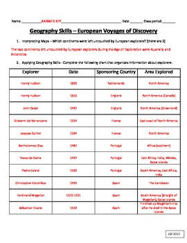 Exploration - Geography Skills - European Voyages of Discovery Chart and Map