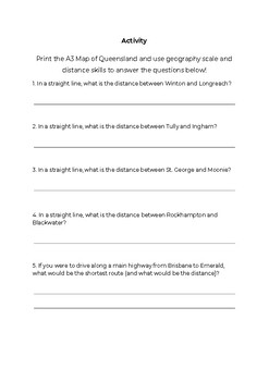 Geography Skills - Map Reading - Scale & Distance Worksheet (Australian Map)
