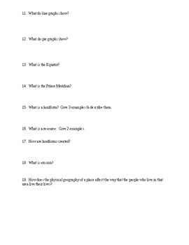 Geography Skills Study Guide