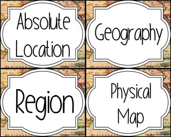 Geography Skills Vocabulary Cards & 3 Way Card Sort