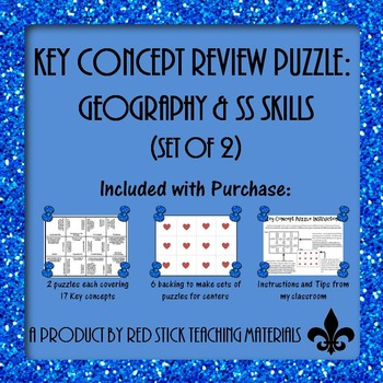 Geography & Social Studies Skills Key Concepts Puzzle--Set of 2