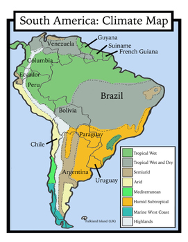 Blank Geography South America Maps Students Color By Shoestring Hill