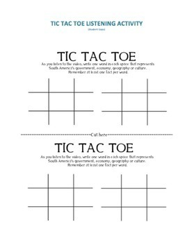 Geography: Central America Tic-Tac-Toe Activity  (middle and high school)