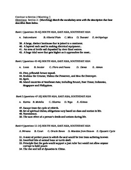 Asia Unit Test / Exam / Assessment (Geography) South Asia, East Asia, SE Asia