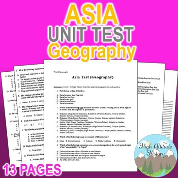Asia Unit Test / Exam / Assessment (Geography) South Asia,