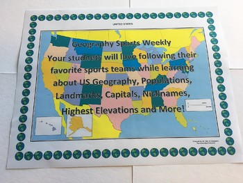 Geography Sports Weekly Using Charts, Maps, and Data Anaylsis - Fun Lessons!