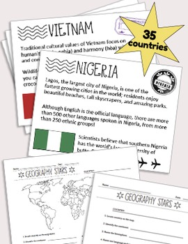 Geography Stars Weekly Year-Long Program & Passport Booklet and Stamps