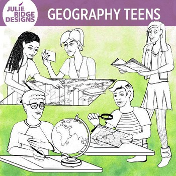 Teen Geography Students Clip Art Illustrations