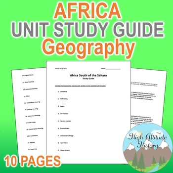 Africa Unit Study Guide (Geography) Sub-Saharan Africa