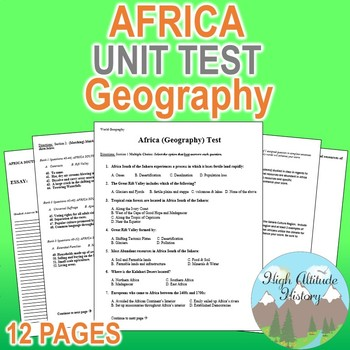 Africa Unit Test / Exam / Assessment (Geography) South of the Sahara