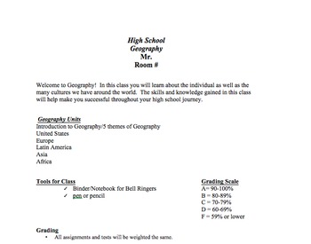 Geography Syllabus Template