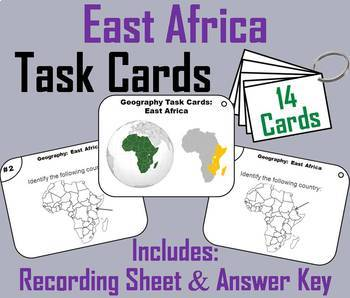 Geography Task Cards Bundle - Africa: East, West, North, Central and South