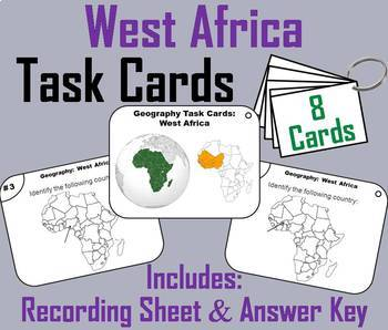 East, West, North, Central & South Africa Bundle (World Geography Task Cards)